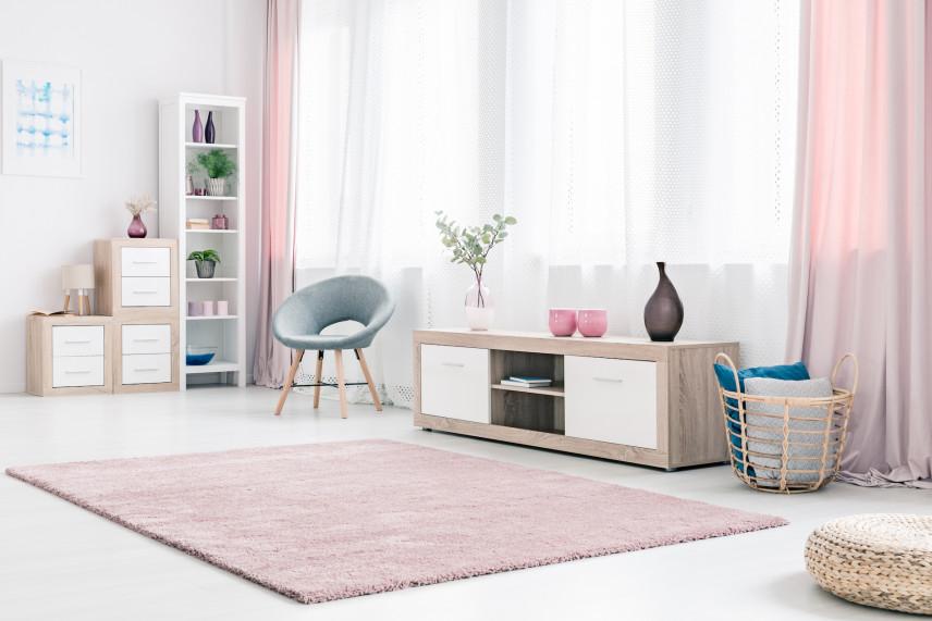 Salon z różowym dywanem