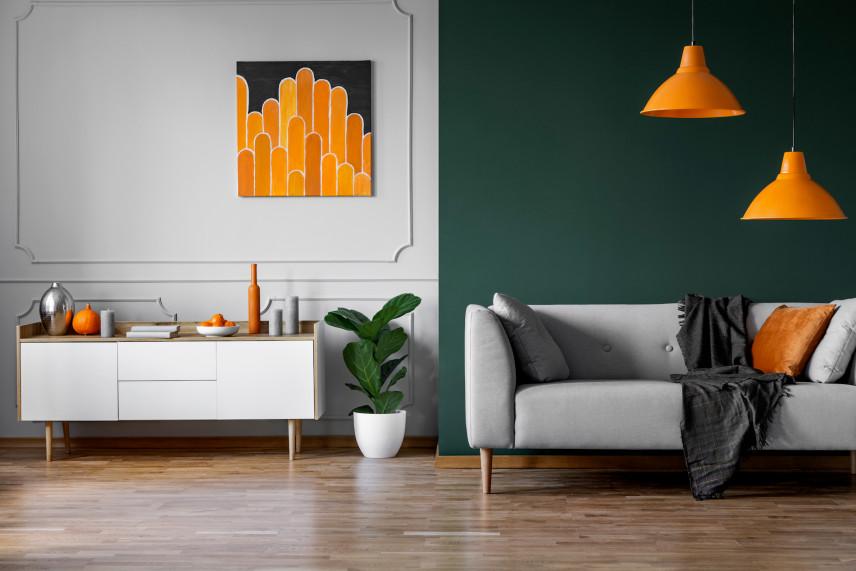 Zielono-szary  salon