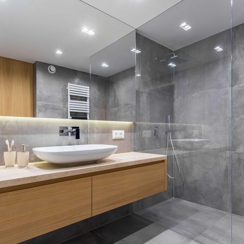 Mała szara łazienka w stylu skandynawskim