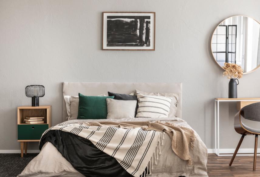 Szaro-zielona sypialnia