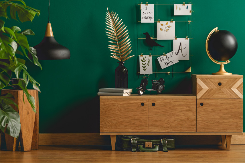 Przedpokój z zieloną ścianą w stylu skandynawskim