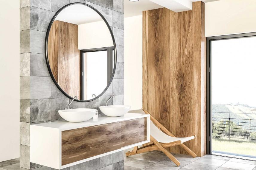 Nowoczesna łazienka z owalnym lustrem