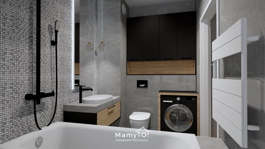 Projekt łazienki z mozaiką na ścianie
