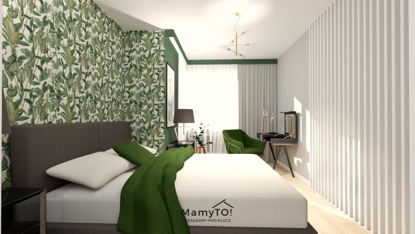 Zielono-szare ściany w sypialni