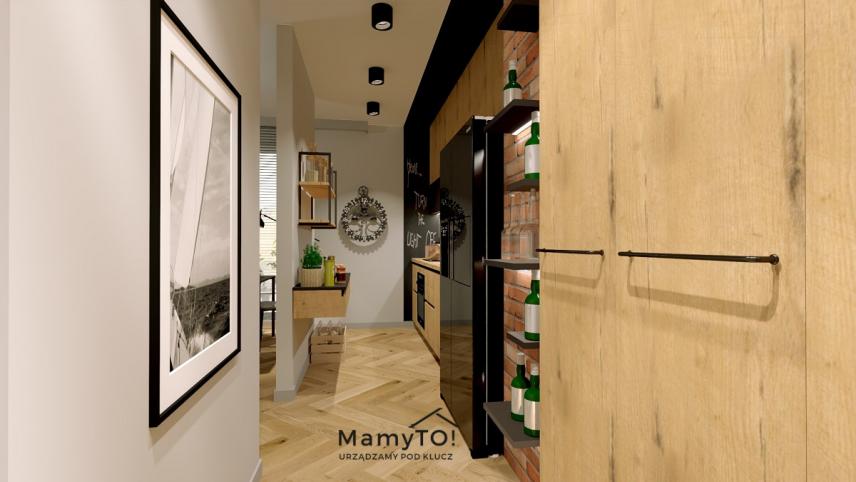 Salon z kuchnią w stylu skandynawskim