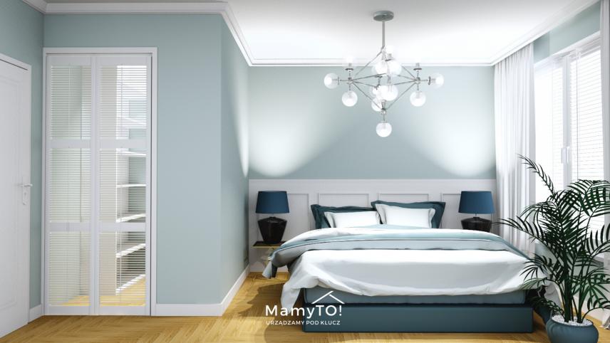 Błękitna sypialnia z białym drewnem na ścianie