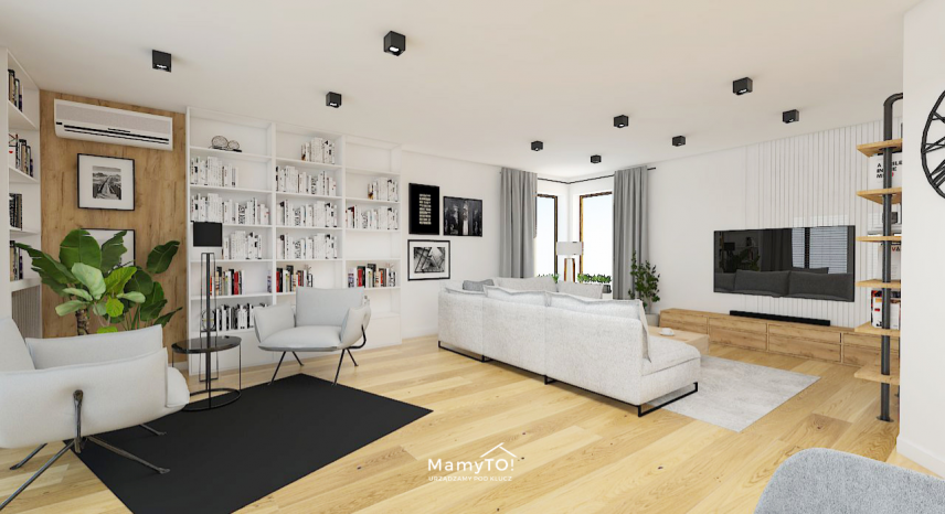 Przestrzenny salon w stylu skandynawskim