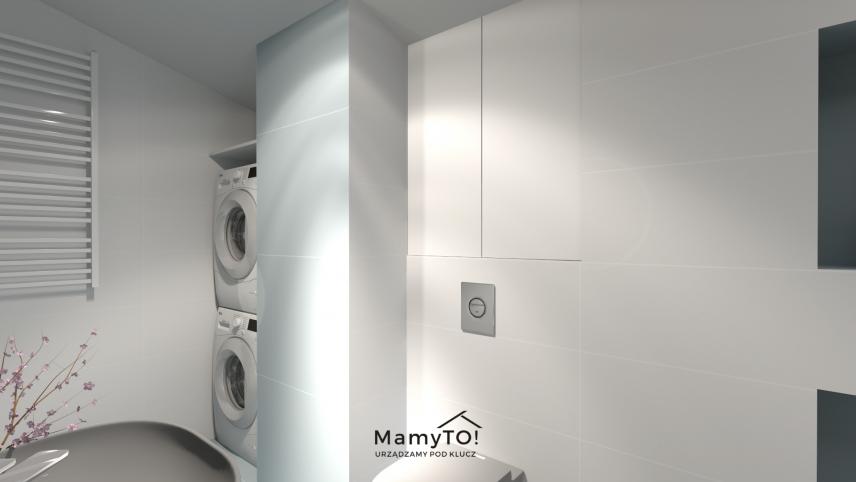 Projekt łazienki z pralką i suszarką