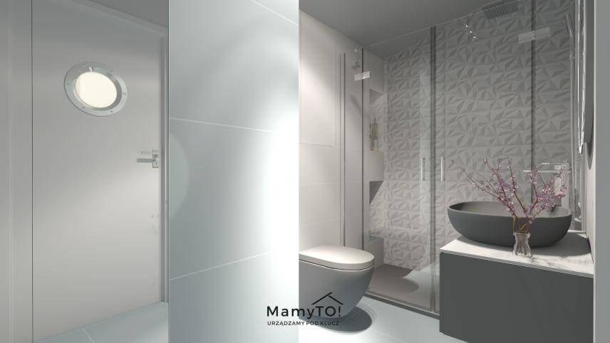 Projekt małej łazienki w monochromatycznym kolorze
