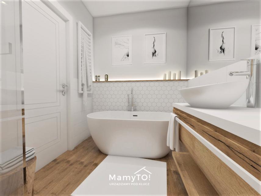 Projekt łazienki z białym wzorem heksagonalnym