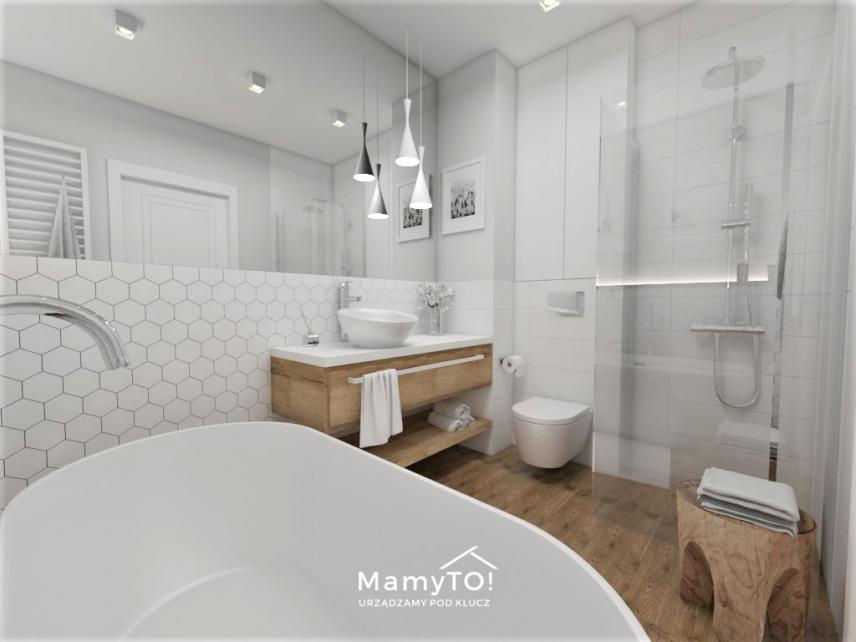 Mała łazienka z wzorem heksagonalnym