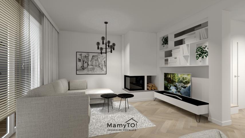 Projekt salonu z kominkiem w stylu skandynawskim