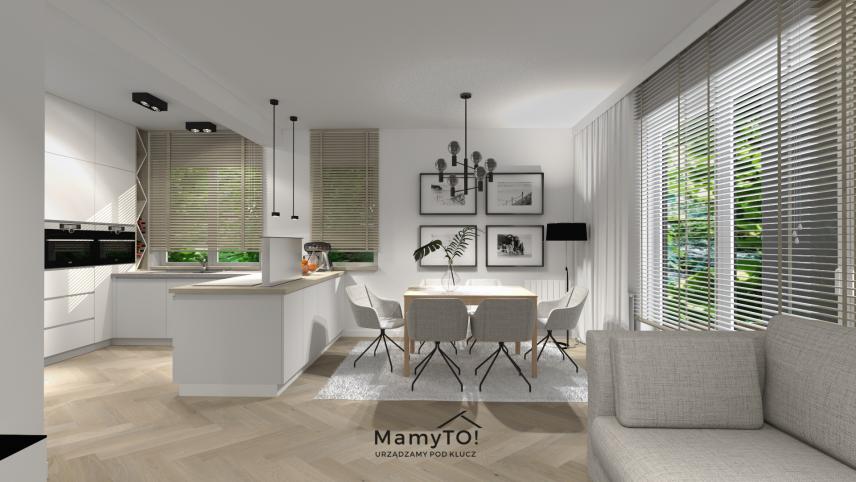 Propozycja oświetlenia w salonie połączonym z kuchnią