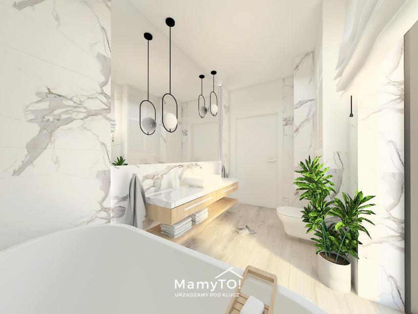 Projekt łazienki z marmurowymi płytkami