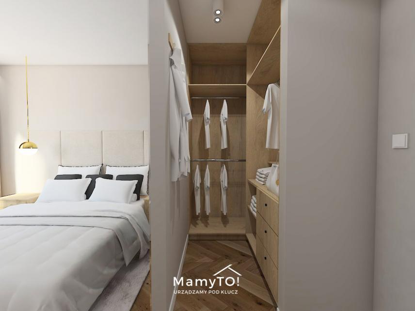 Sypialnia z garderobą otwartą