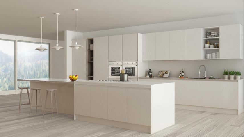Przestrzenna kuchnia w bieli