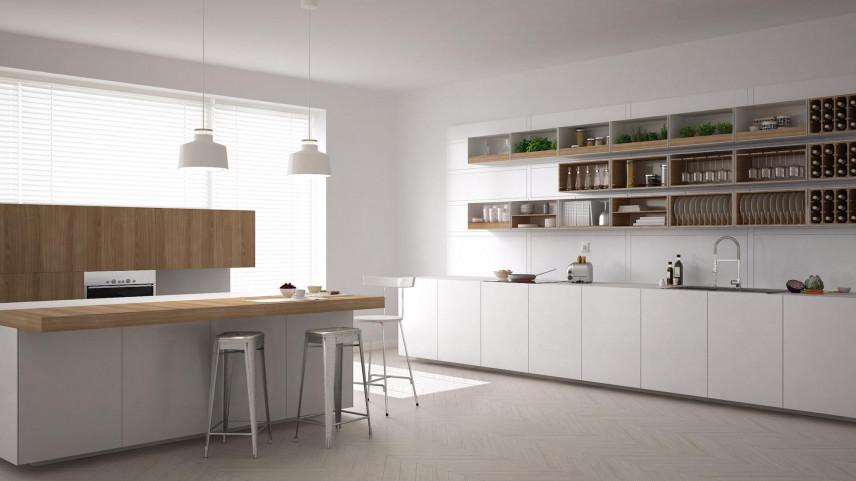 Szafki wiszące, otwarte w kuchni
