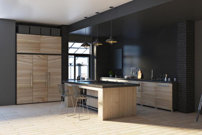 Kuchnia z czarnymi ścianami