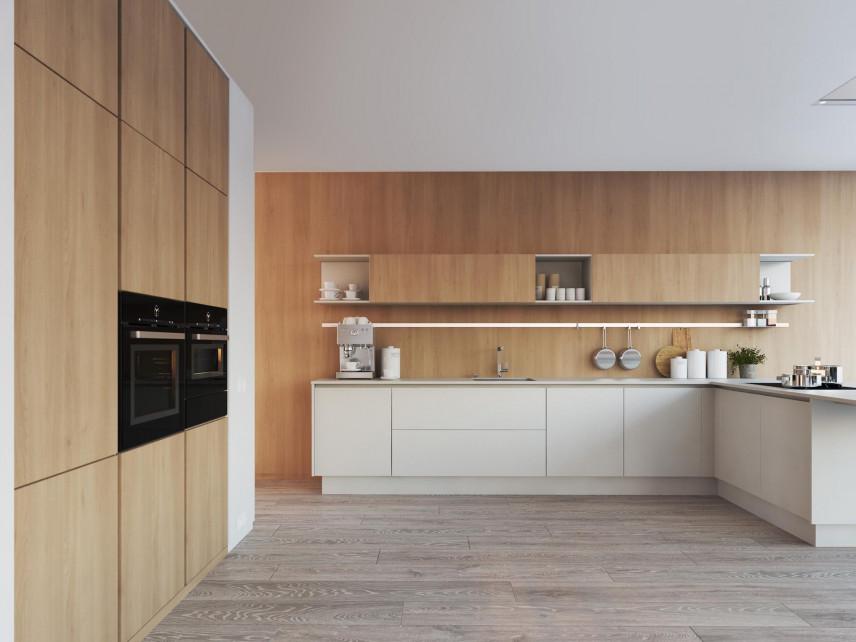 Drewniana ściana w kuchni