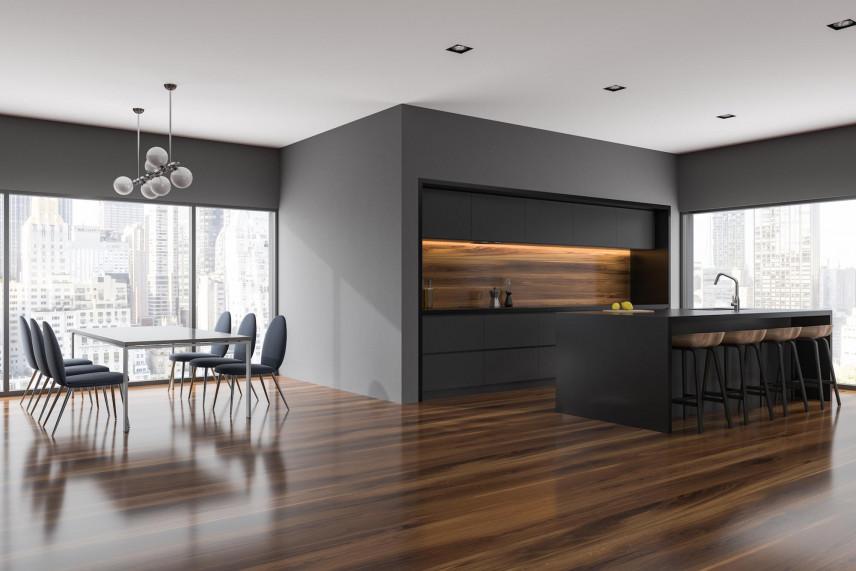 Czarno-brązowa kuchnia z salonem