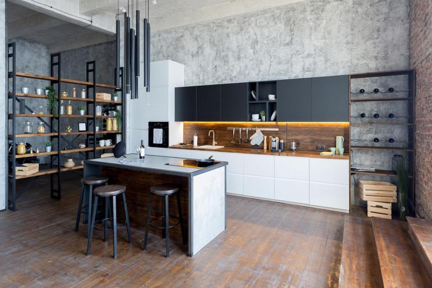 Dekoracyjny beton na ścianie w kuchni