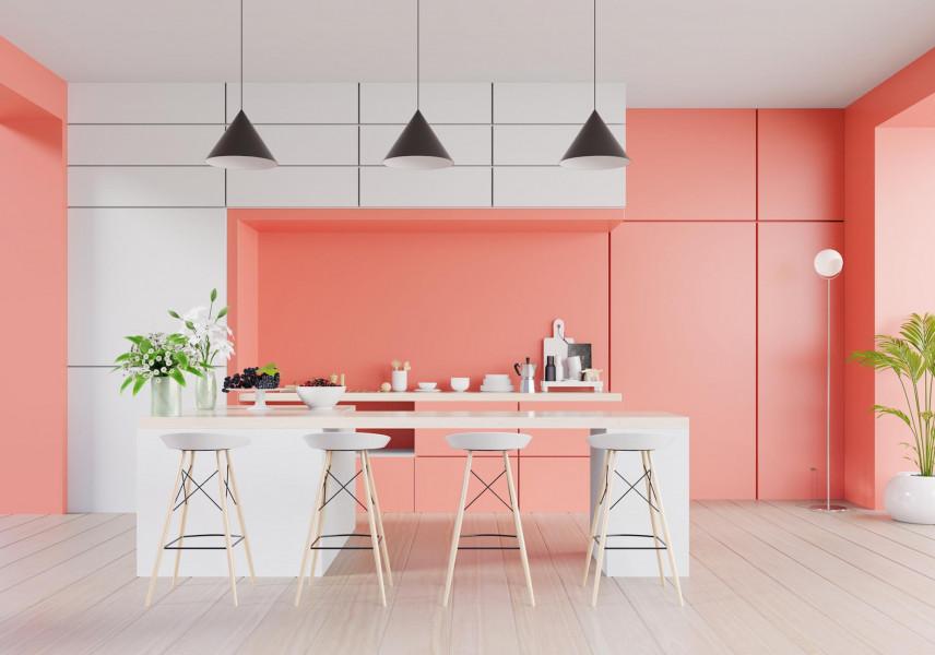 Różowe ściany w kuchni