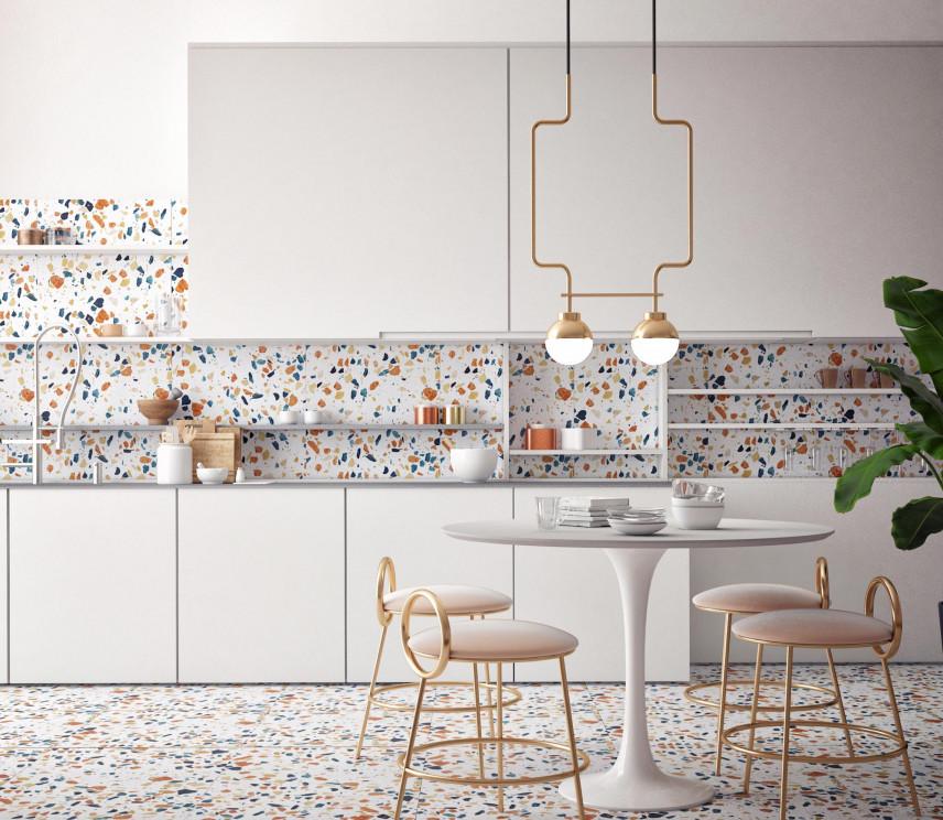 Stylowy wzór na ścianie w kuchni