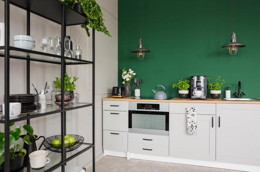Kuchnia z zieloną ścianą