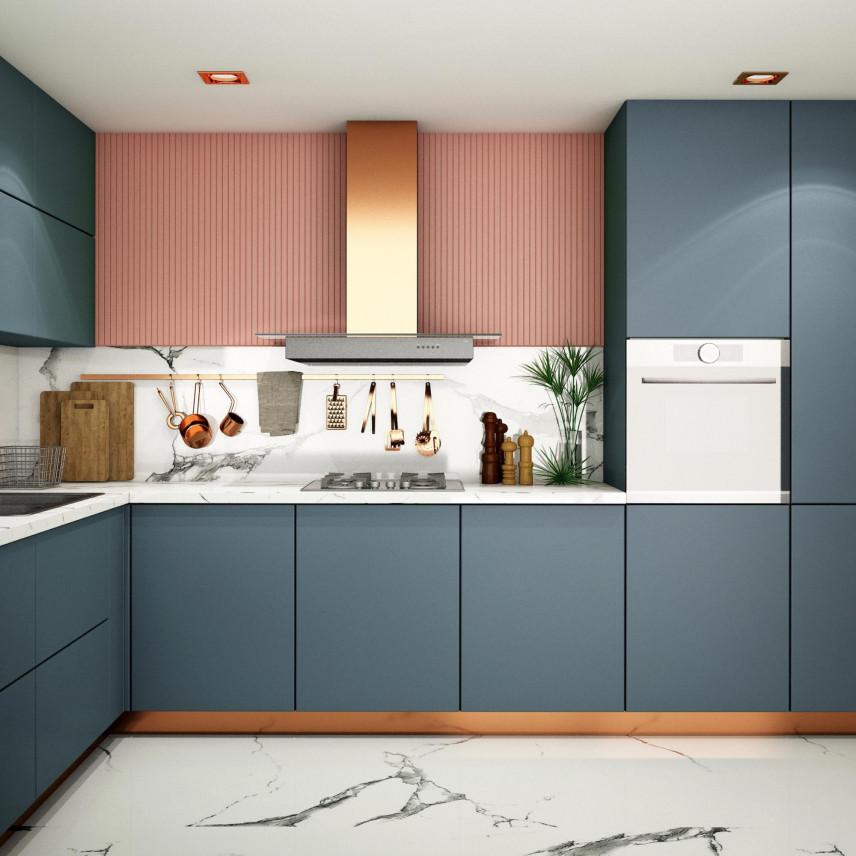 Różowa tapeta w kuchni na ścianie