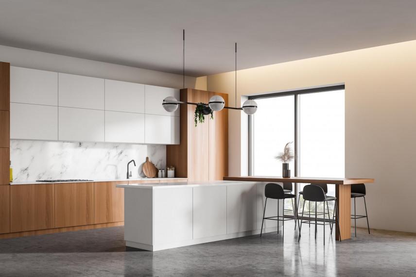 Aranżacja kuchni z betonową podłogą