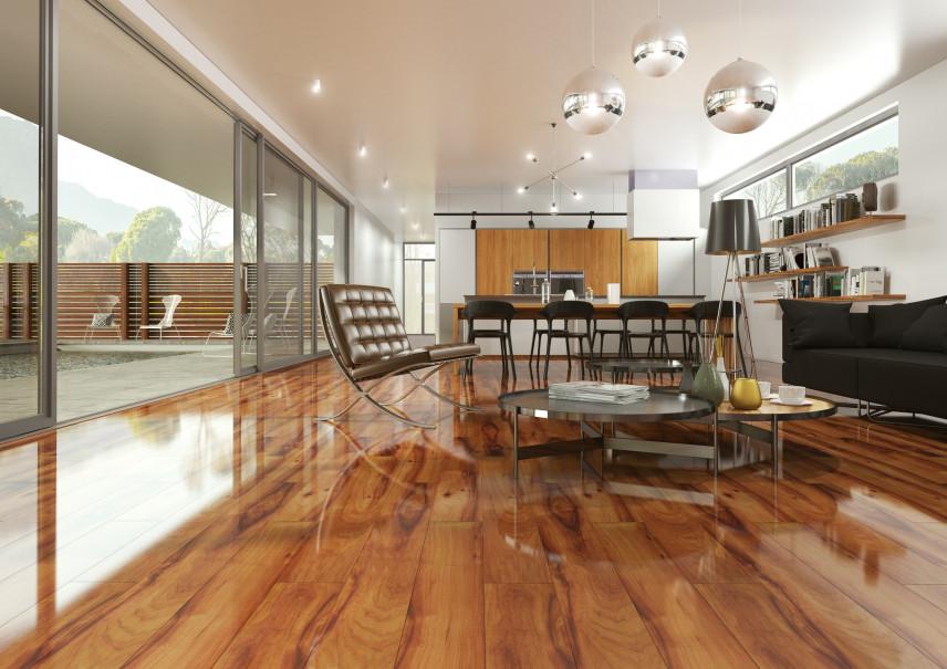 Designerski salon z podłogą na wysoki połysk