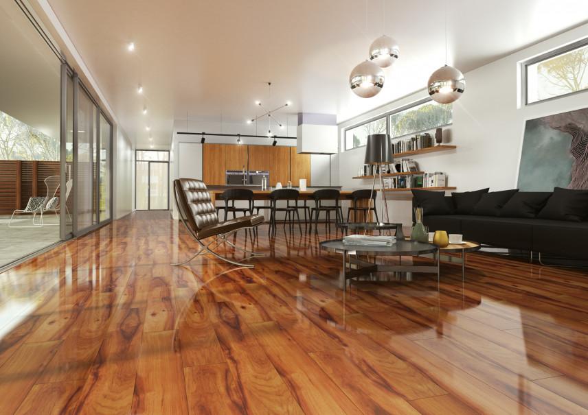 Designerski salon z lakierowaną podłogą