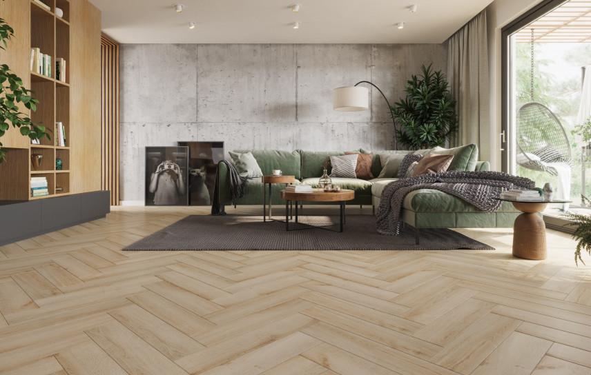 Salon z podłogą De Lux Jodełka