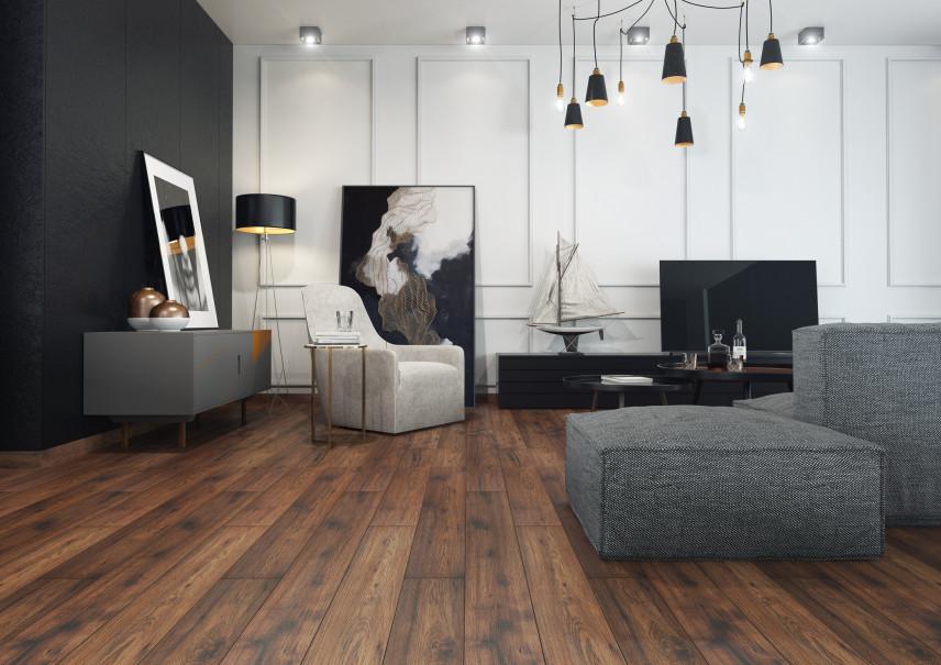Czarno-biały salon z lampą typu pająk