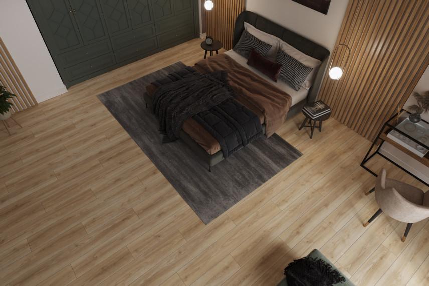 Elegancka sypialnia ze ścianą z drewna