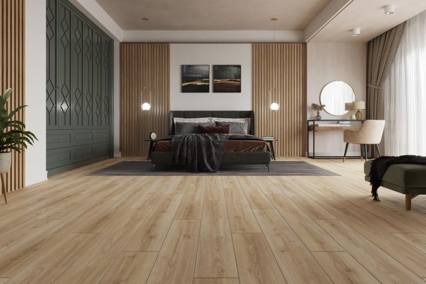 Stylowa sypialnia z drewnem i oliwkową szafą w zabudowie