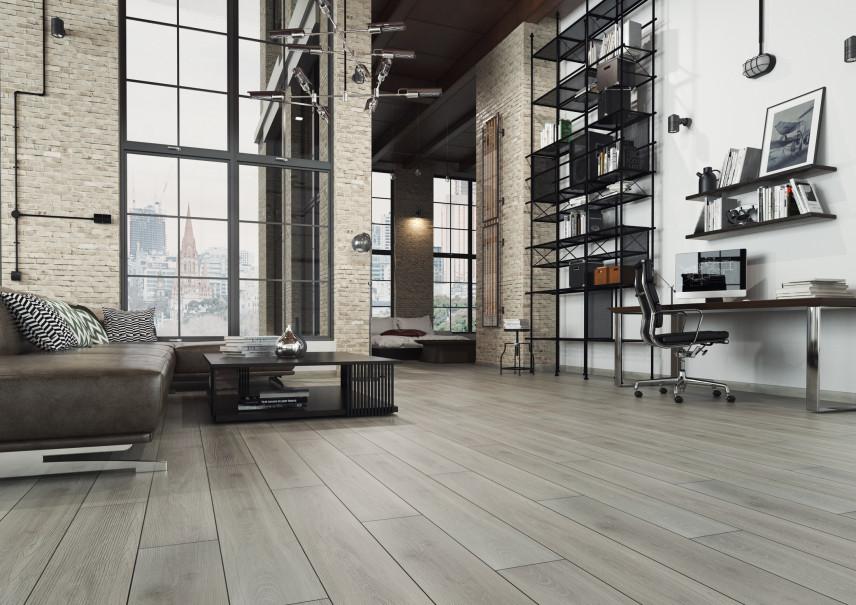 Industrialny salon z cegłą na ścianie
