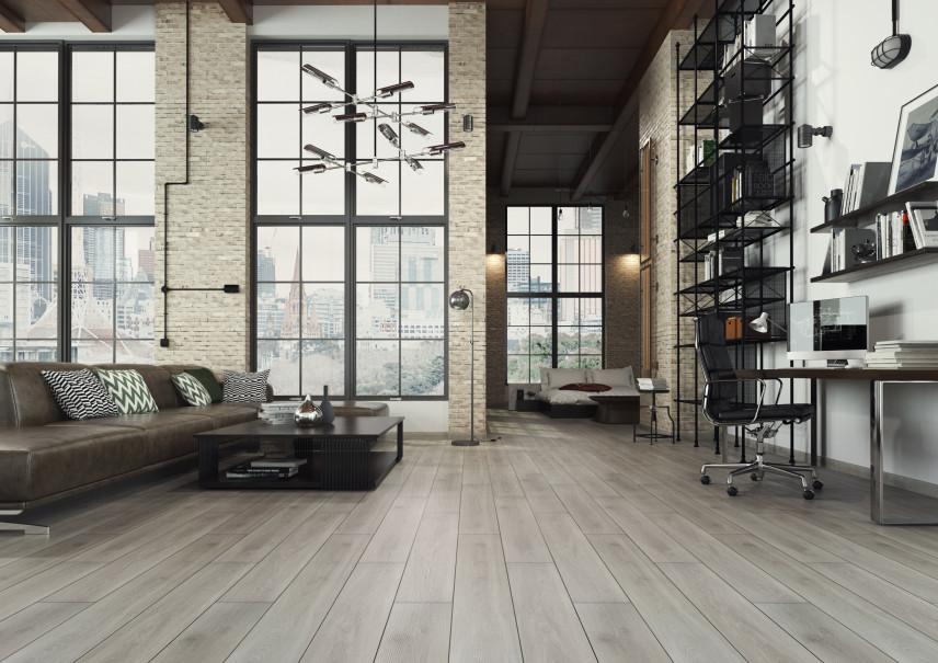 Loftowy salon w stylu industrialnym