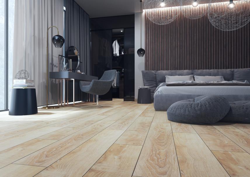 Elegancka sypialnia w monochromatycznych szarościach