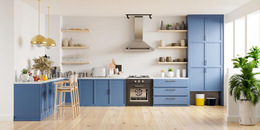 Kuchnia z niebieskimi frontami