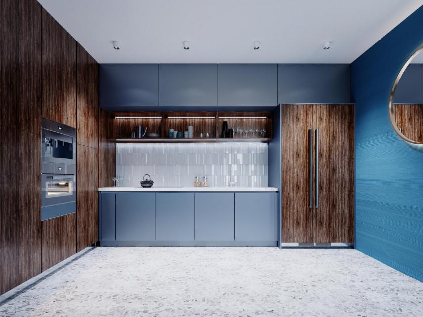 Niebiesko-drewniana kuchnia