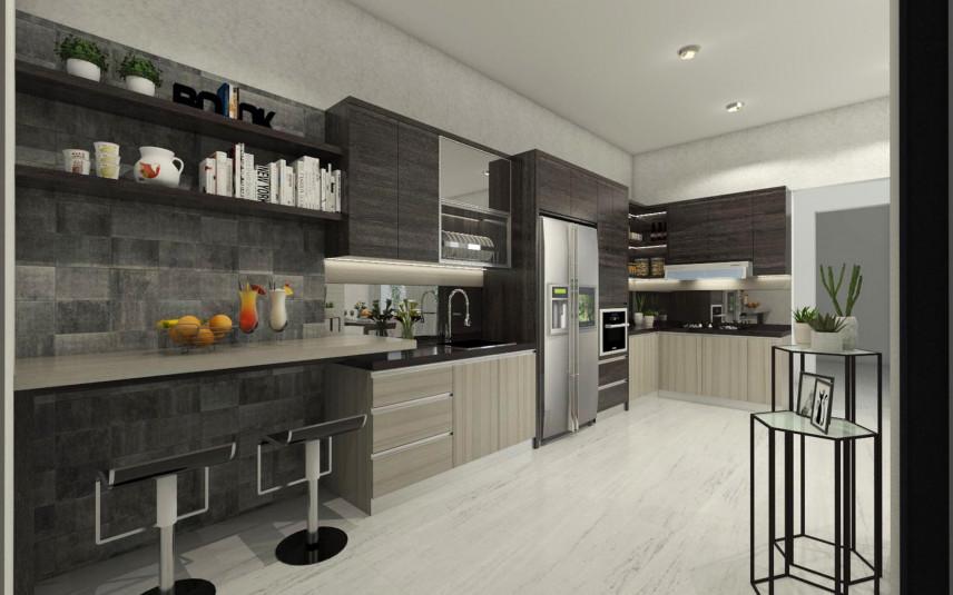 Projekt kuchni z szarą płytką na ścianie