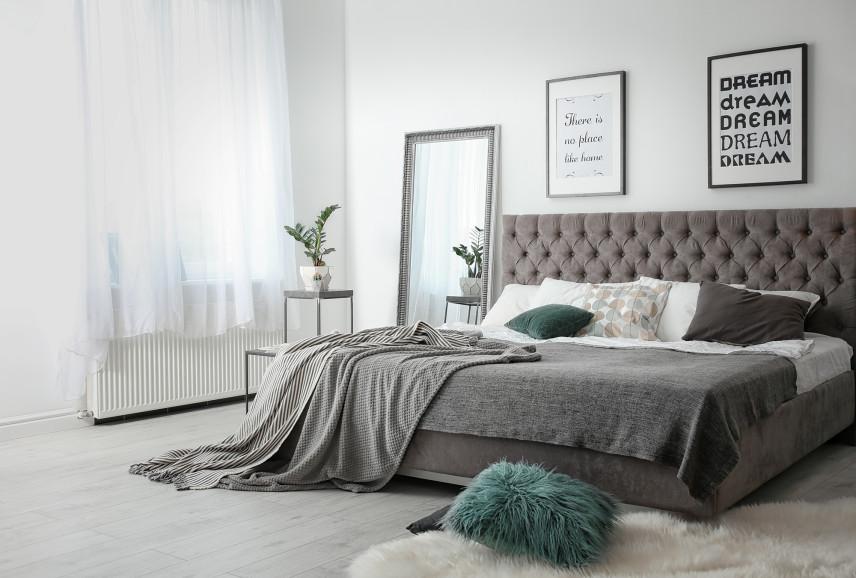Nowoczesna szaro-biała sypialnia