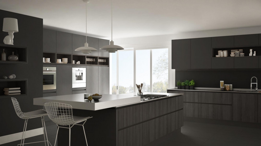 Projekt kuchni z czarnymi meblami