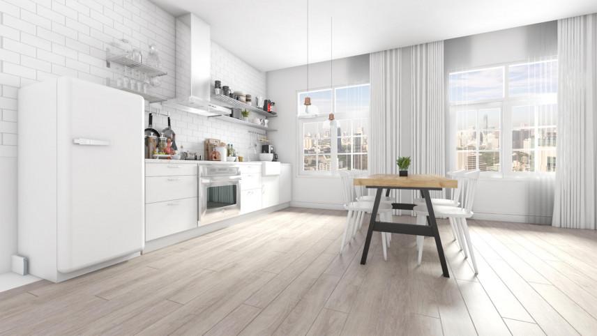 Projekt kuchni z dużymi oknami