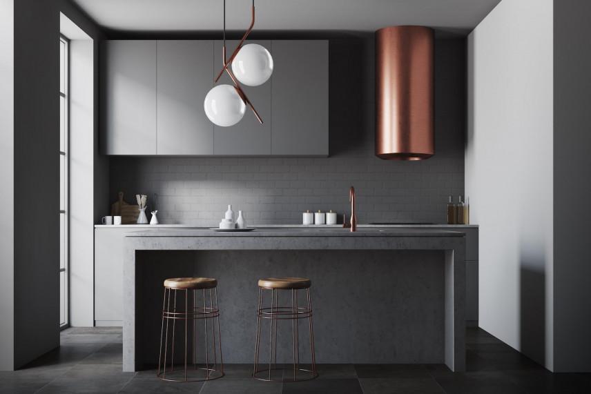 Projekt kuchni z designerskim okapem