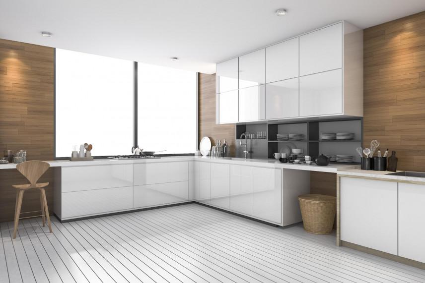 Aranżacja kuchni z drewnianymi elementami na ścianie