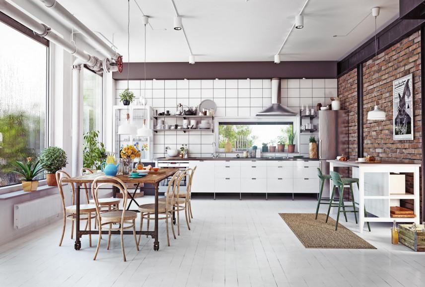 Aranżacja kuchni z cegłą na ścianie