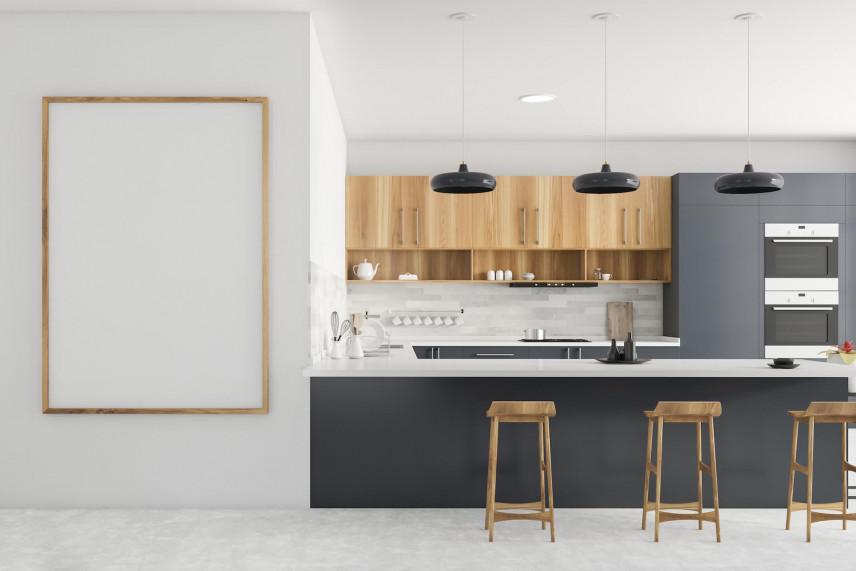 Aranżacja małej kuchni z brązowo-szarymi frontami i barem