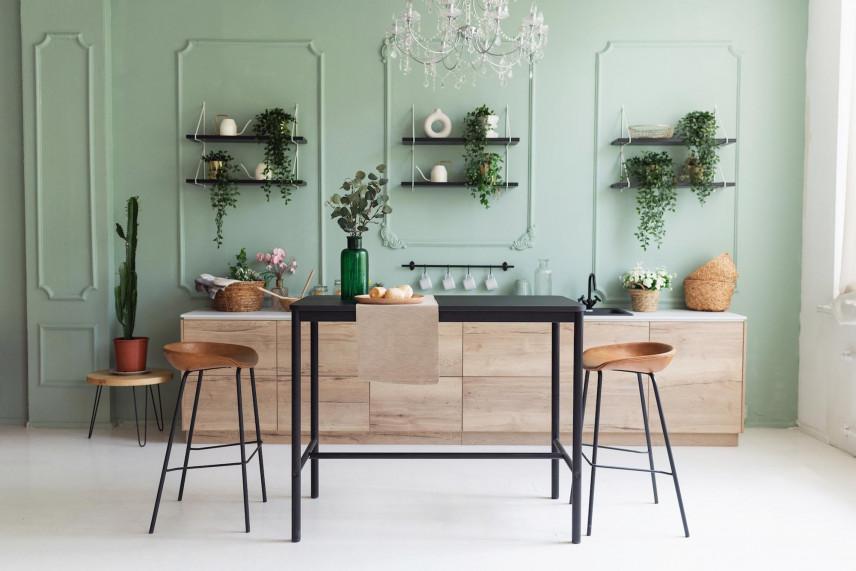 Aranżacja kuchni z zielonymi ścianami
